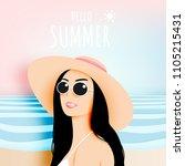 girl with stunning summer... | Shutterstock .eps vector #1105215431