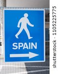 spain cross border sign in... | Shutterstock . vector #1105225775