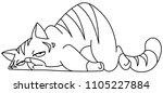 outlined tired cat lying on... | Shutterstock .eps vector #1105227884