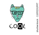 cool cat slogan and face cat... | Shutterstock .eps vector #1105231997