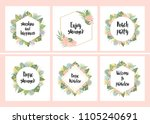 set of hand drawn cards with...   Shutterstock .eps vector #1105240691