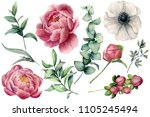Watercolor Floral Set With...