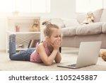 scared little casual girl... | Shutterstock . vector #1105245887