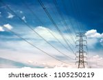 high voltage towers with blue... | Shutterstock . vector #1105250219