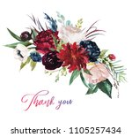 watercolor floral illustration  ... | Shutterstock . vector #1105257434
