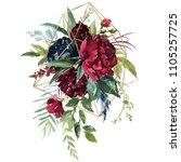 watercolor floral illustration  ... | Shutterstock . vector #1105257725