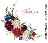 Stock photo watercolor floral illustration flowers burgundy bouquet for wedding stationary greetings 1105258001