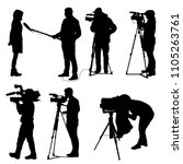 set cameraman with video camera.... | Shutterstock . vector #1105263761