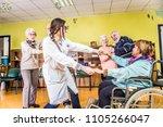 senior adults in a nursing home ... | Shutterstock . vector #1105266047