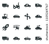 black vector icon set tractor... | Shutterstock .eps vector #1105269767