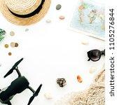 summer travel concept. frame...   Shutterstock . vector #1105276844