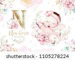 cute newborn watercolor baby.... | Shutterstock . vector #1105278224