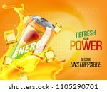 mango cold energy drink in... | Shutterstock .eps vector #1105290701