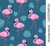 pattern with flamingos and... | Shutterstock .eps vector #1105296914