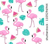 summer pattern with flamingos ... | Shutterstock .eps vector #1105296944