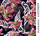 seamless pattern with lilies... | Shutterstock .eps vector #1105298099