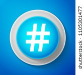 white hashtag icon isolated on...