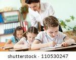 teacher conducts the task... | Shutterstock . vector #110530247