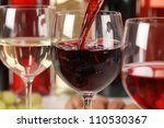 red wine pouring into a wine... | Shutterstock . vector #110530367