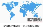 vector flat world map with... | Shutterstock .eps vector #1105309589