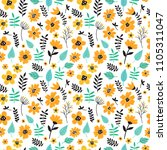 cute hand drawn floral colorful ...   Shutterstock .eps vector #1105311047