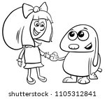 black and white cartoon... | Shutterstock .eps vector #1105312841
