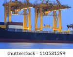 Large Container Ship In A Dock...
