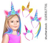 unicorn party. face girl and... | Shutterstock .eps vector #1105317731