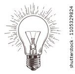 vintage light bulb in engraving ... | Shutterstock .eps vector #1105329824