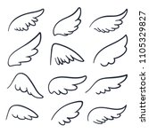 cartoon angel wings. winged... | Shutterstock .eps vector #1105329827