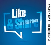 like and share blue white...   Shutterstock .eps vector #1105342421