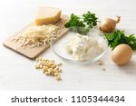 ingredients for a ricotta... | Shutterstock . vector #1105344434