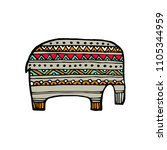 indian elephant in traditional... | Shutterstock . vector #1105344959