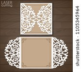 laser cut wedding invitation... | Shutterstock .eps vector #1105345964