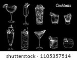 alcoholic cocktails hand drawn... | Shutterstock .eps vector #1105357514