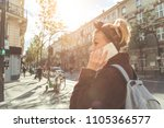 girl talking on the phone in... | Shutterstock . vector #1105366577