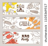 bbq and grill banners with... | Shutterstock .eps vector #1105369517