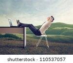 young businessman relaxing at... | Shutterstock . vector #110537057