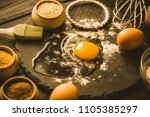 easter table with spring... | Shutterstock . vector #1105385297