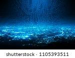 digital circuit line on blue... | Shutterstock . vector #1105393511
