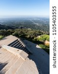 Small photo of Vertical view of historic incline railway ruins on top of Echo Mtn in the Angeles National Forest above Pasadena and Los Angeles, California.