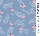 pattern with pink flamingo on... | Shutterstock .eps vector #1105405289