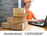 asian entrepreneur get order... | Shutterstock . vector #1105428287