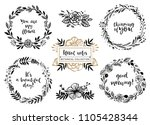 flower bouquets  wreaths with... | Shutterstock .eps vector #1105428344