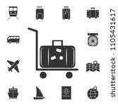 silhouette of rolling luggage... | Shutterstock .eps vector #1105431617