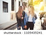 two beautiful girls blonde... | Shutterstock . vector #1105435241
