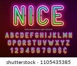 neon light alphabet ... | Shutterstock .eps vector #1105435385