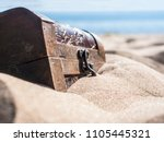 close up locked chest in the... | Shutterstock . vector #1105445321