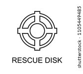 rescue disk outline icon.... | Shutterstock .eps vector #1105449485