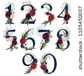 floral number set   digits 1  2 ... | Shutterstock . vector #1105450037